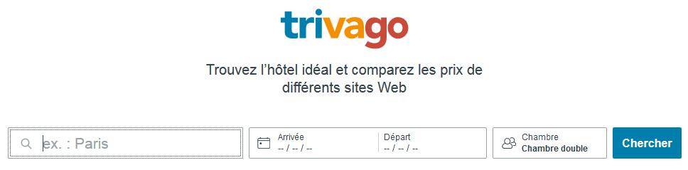 Fonctionnalité de recherche du site Trivago