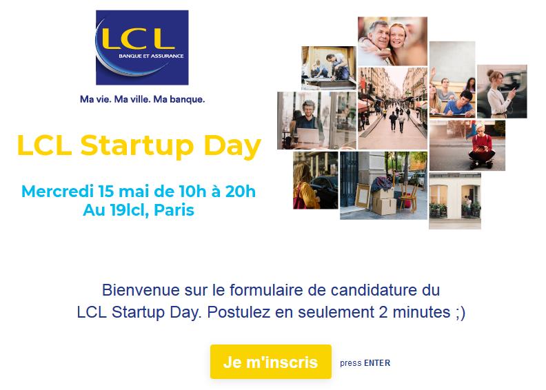 Page du formulaire d'inscription au LCL Startup Day