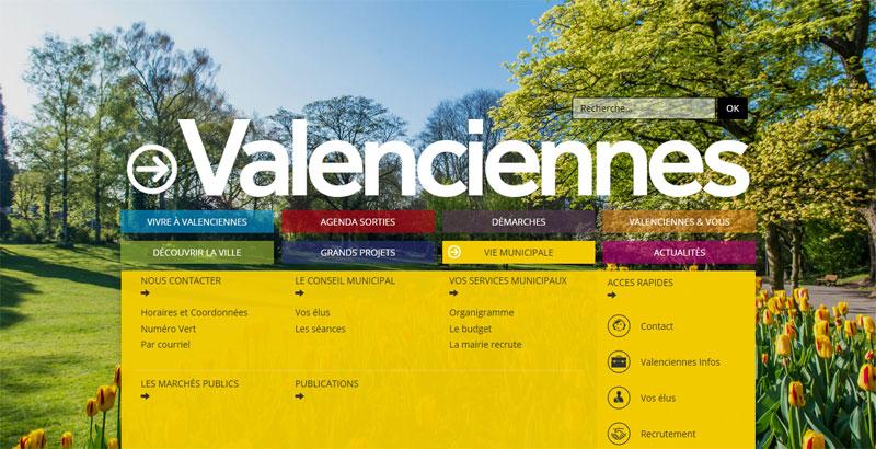 Menu du site de la ville de Valenciennes