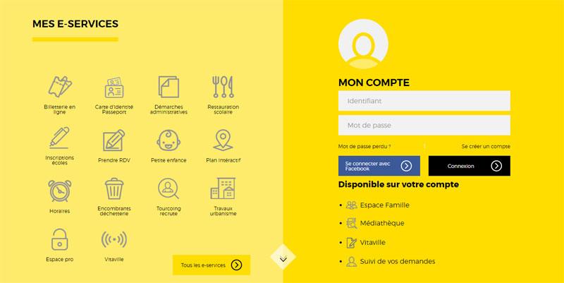 Menu riche du site web de Tourcoing